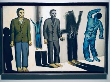 """Iš lenkų tapytojo Andrzejaus Wróblewskio paveikslų serijos """"Sušaudymai"""" (paroda """"Sunkus amžius: Vilnius, 1939–1949"""", MO muziejus). Dovilės Zavedskaitės nuotrauka"""