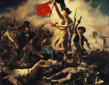 """Eugène Delacroix, """"Laisvė barikadose"""", 2,6 m x 3,25 m, 1830 m."""