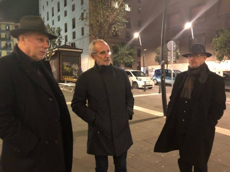 Faustas Latėnas, Rimas Tuminas ir Adomas Jacovskis Italijoje. Gabrielės Tuminaitės asmeninio archyvo nuotrauka