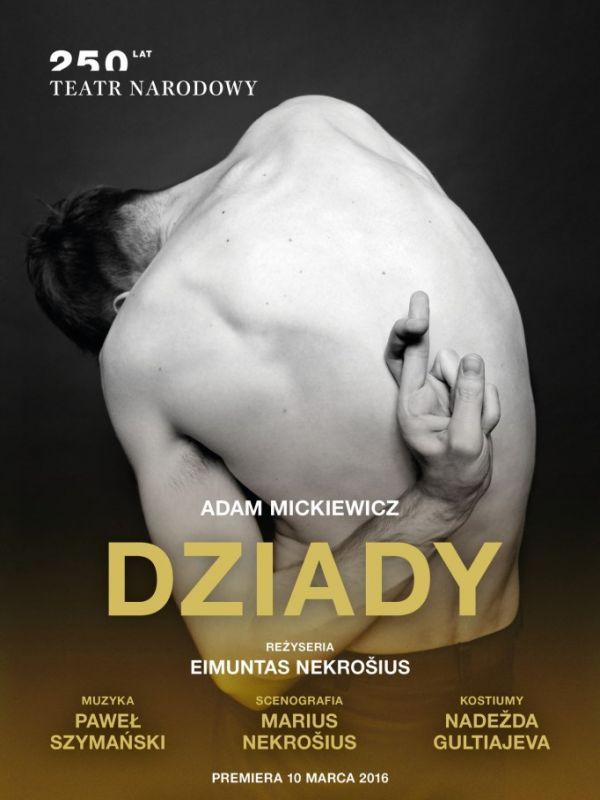 """Eimunto Nekrošiaus  """"Vėlinių"""" Nacionaliniame teatre Varšuvoje plakatas"""