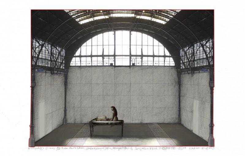 """Krystiano Lupos scenografijos spektakliui """"Austerlicas"""" piešinys (senosios Prahos stoties variacija)."""