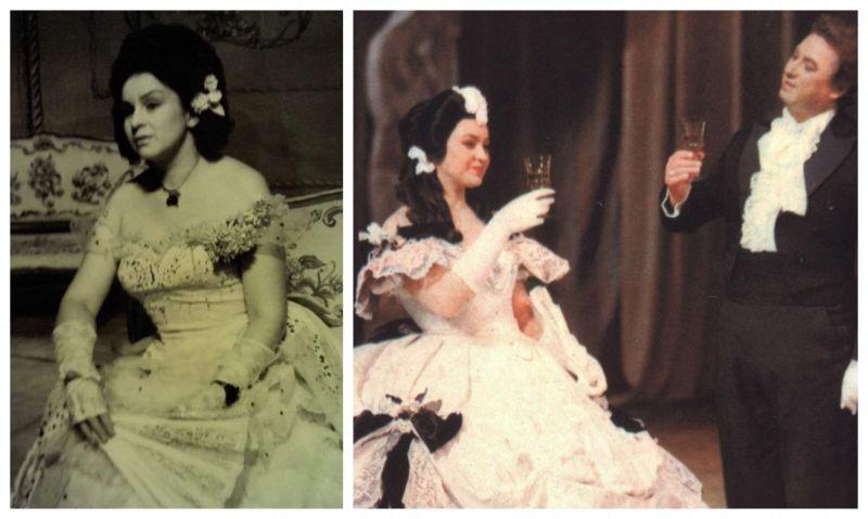 """Operos solistė - sopranas Irena Milkevičiūtė Violetos vaidmenyje G. Verdi operos """"Traviata"""" pastatymuose. Dešinėje - tenoras Virgilijus Noreika Alfredo vaidmenyje. Nuotraukos iš LNOBT ir solistės asmeninio archyvo, MF koliažas"""