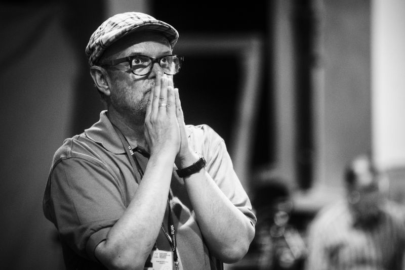 """Rolandas Rastauskas pjesės """"Jokūbo istorija"""" skaitymo repeticijoje. Dmitrijaus Matvejevo nuotrauka"""