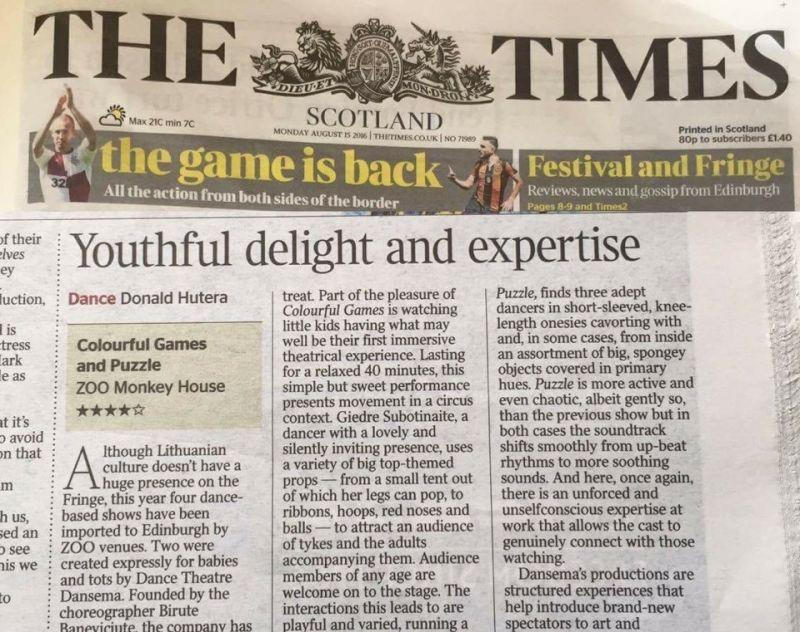 """""""Dansemos"""" spektakliai """"Spalvoti žaidimai"""" ir """"Mozaika"""", parodyti Edinburgo Fringe festivalyje, pelnė keturias žvaigždutes – taip Birutės Banevičiūtės kūrinius įvertino Jungtinės Karalystės laikraščio """"The Times"""" šokio apžvalgininkas. Asmeninio archyvo nuotrauka"""