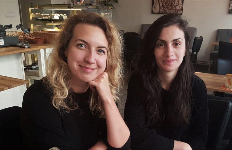 Dramaturgės Birutė Kapustinskaitė ir Teklė Kavtaradzė. Asmeninio archyvo nuotrauka